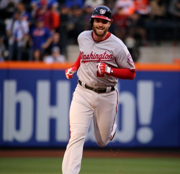 The Nationals' Daniel Murphy rounds the bases after is first-inning homer.