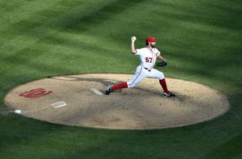 Jul 6, 2016; Washington, DC, USA; Washington Nationals starting pitcher Tanner Roark (57) pitches during the sixth inning against the Milwaukee Brewers at Nationals Park. Washington Nationals defeated Milwaukee Brewers 7-4. Mandatory Credit: Tommy Gilligan-USA TODAY Sports