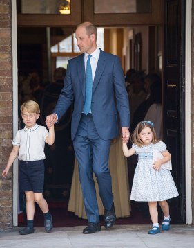 7/9/2018 - The Duke of Cambridge with Prince George and Princess Charlotte after Prince Louis's christening at the Chapel Royal, St James's Palace, London. (Photo by PA Images/Sipa USA) *** US Rights Only ***