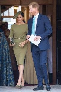 7/9/2018 - The Duke and Duchess of Sussex depart after attending the christening of Prince Louis at the Chapel Royal, St James's Palace, London. (Photo by PA Images/Sipa USA) *** US Rights Only ***