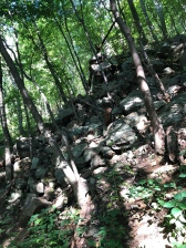 Rock outcroppings on the trail.