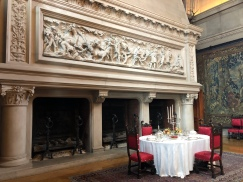The fireplace in the Banquet Hall