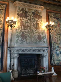The second fireplace in the Tapestry Room